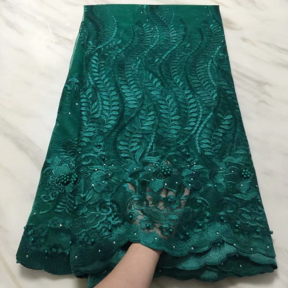 2019 Emerald green french lace embroidered tulle lace with stones and beaded nigerian Guipure lace fabrics