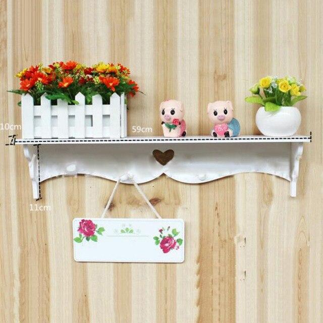 White Decorative Wall Shelf Carved Hanging Hollow Decoration Coat Rack Hook  Furniture Shelves Home Kitchen Hanger