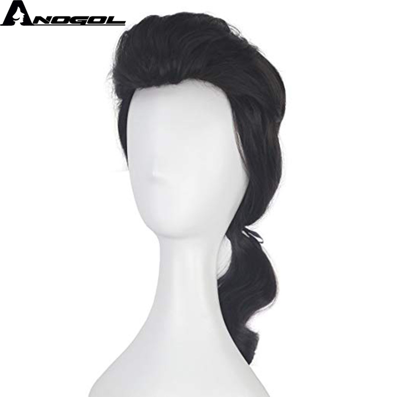 Anogol Beauty And The Beast Prince Gaston Wig Black Short Curly Wig Cosplay Synthetic For Halloween Role Play Party Hair Costume