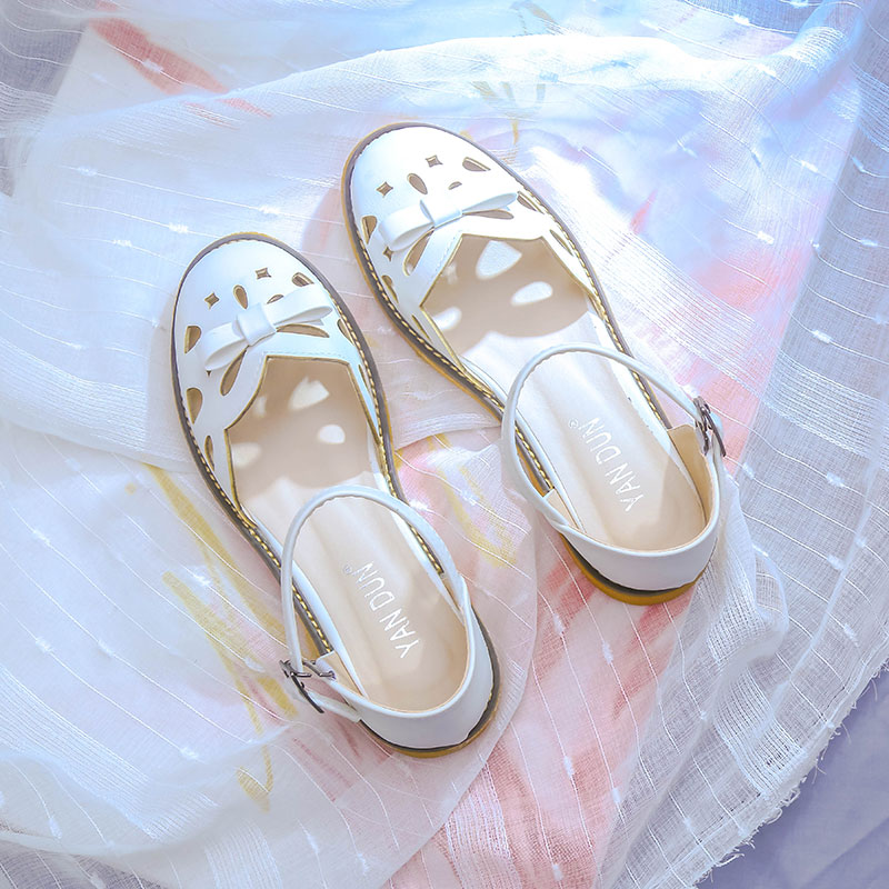 Sandals female fairy wind 2019 summer new fashion baotou wild hollow womens shoes tide students non-slip shoes flat shoesSandals female fairy wind 2019 summer new fashion baotou wild hollow womens shoes tide students non-slip shoes flat shoes
