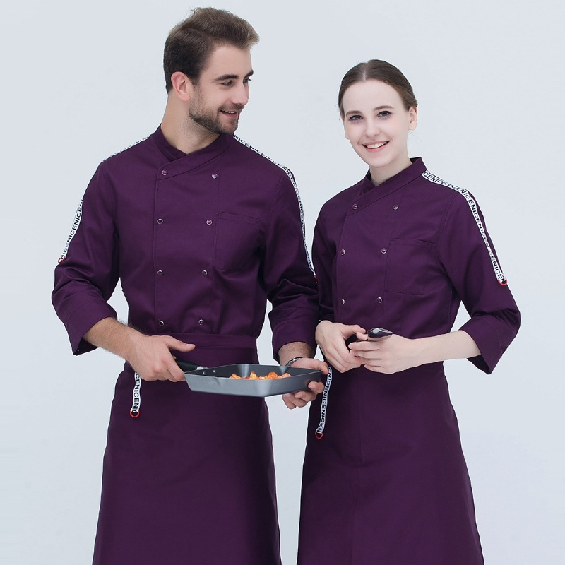 Hotel Long Sleeved Chef Jacket Men And Women Kitchen Workwear Cotton Overall White Chef Uniforms Restaurantes Work Jacket B-6488