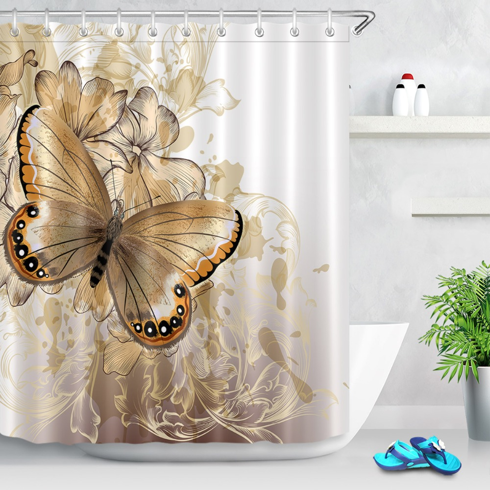 Fl White And Gold Shower Curtains