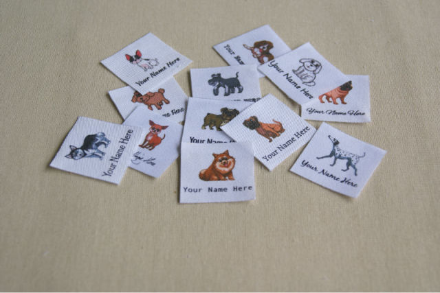 40 Dogs Name Tags Iron On Labels For Children S Clothing Personalized And Printed