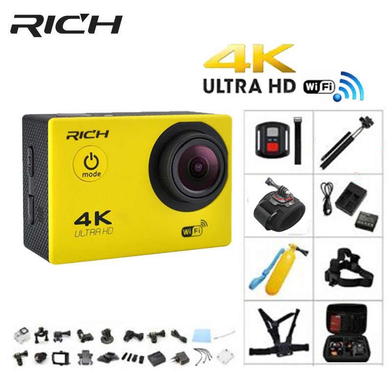 RICH 4K action camera Ultra HD F60 1080p/60 fps WiFi sport Camcorder 170 degrees Angle 2 inch LCD 30 meters waterproof campark wifi sport action camera 2k hd 30fps hd 1 5 tft lcd 1080p 60 fps 16mp action cam digital camcorder hdmi output