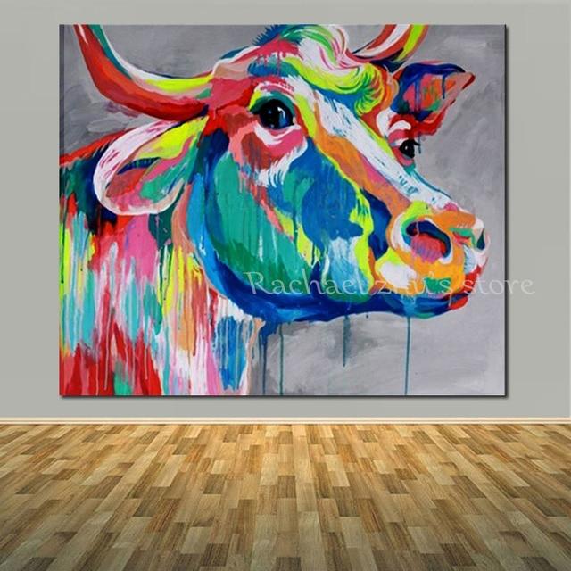 handgemalte pop kunst wasser farbe kuh lgem lde auf leinwand moderne tier kuh. Black Bedroom Furniture Sets. Home Design Ideas