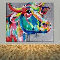 Paintedป๊อปศิลปะน้ำวัวสีภาพวาดสีน้ำมันบนผืนผ้าใบที่ทันสมัยสัตว์วัวผนังรูปภาพห้องนั่งเล่นบ้...