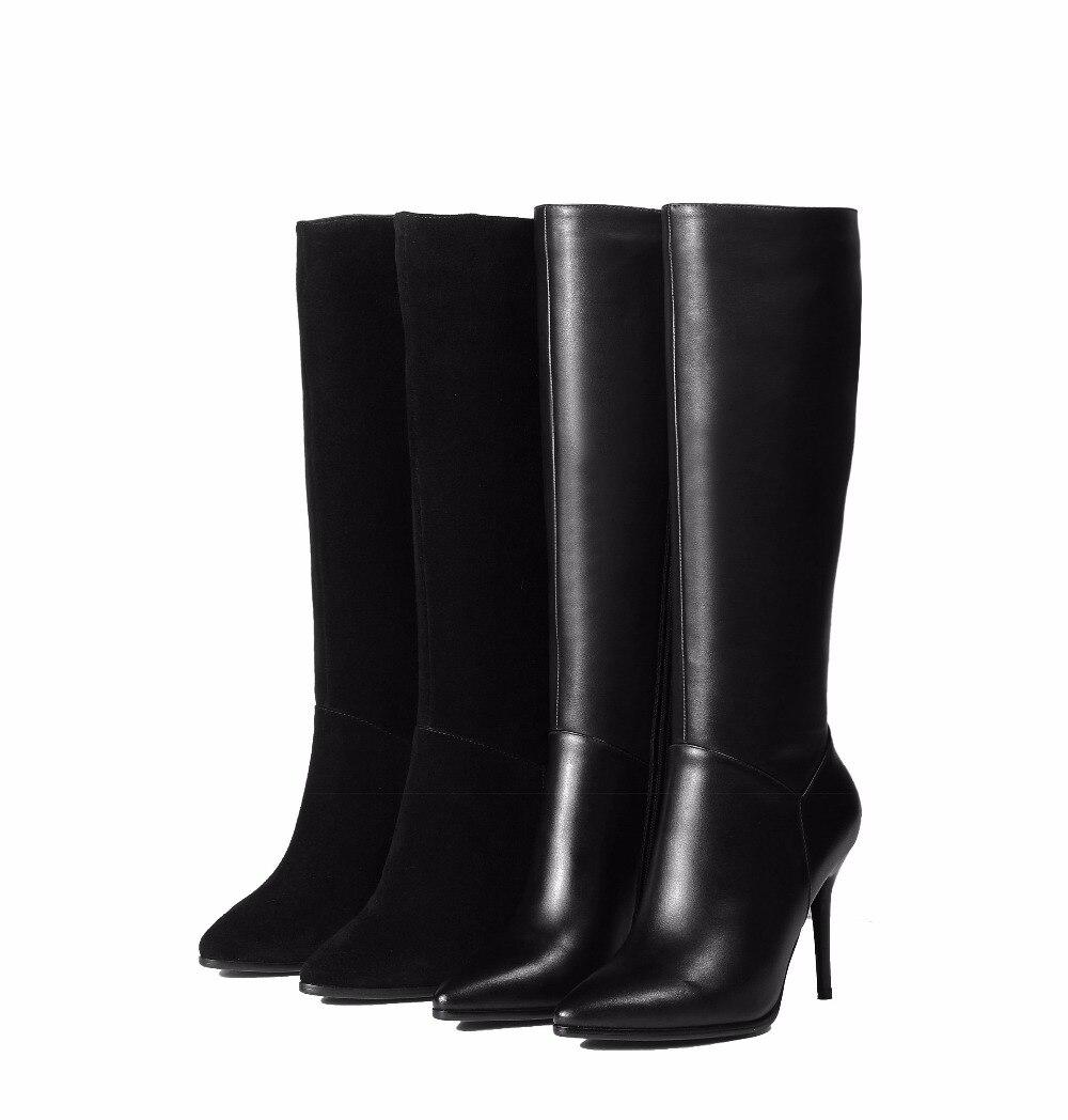 gef leder herbst winter sexy lange echtem 2017 aus kind seitlichem wildleder stiefel heels mit rei verschluss kniehohe 67gmIYbyvf