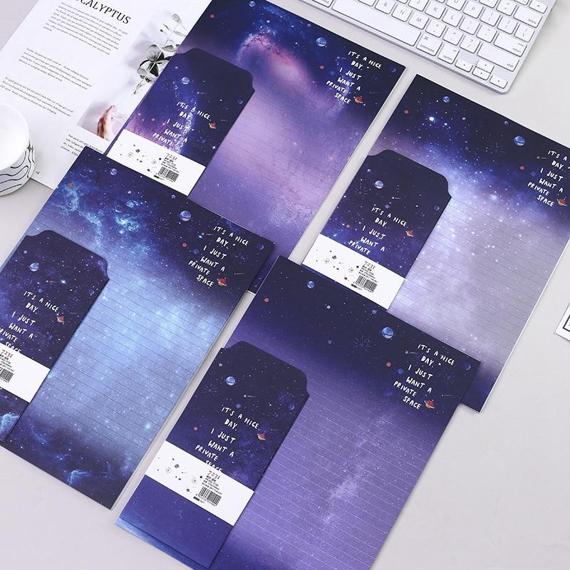 9 Pcs/Set 3 Envelopes+6 Letter Papers Fantasy Starry Sky Series Writing Paper Envelope Set Gift Stationery