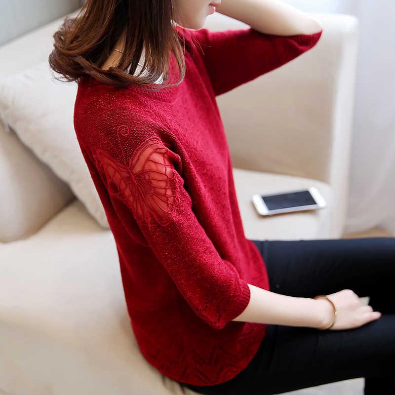 Бабочка кружева свитер женский джемпер 2019 весна осень сплошной цвет трикотажные свитера Женский Пуловер женский свободный свитер
