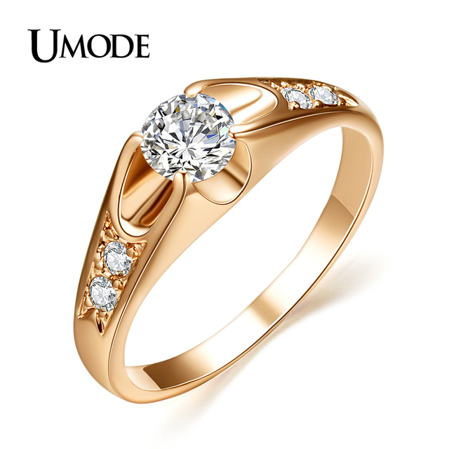 UMODE Fahsion Rose Gold Color Wedding Rings for Women Engagement Ring With Top G