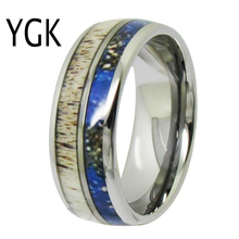 YGK Wedding Jewelry Deer Antler Inlay Silver Dome Tungsten Rings for Mens Bridegroom Engagement Anniversary Ring