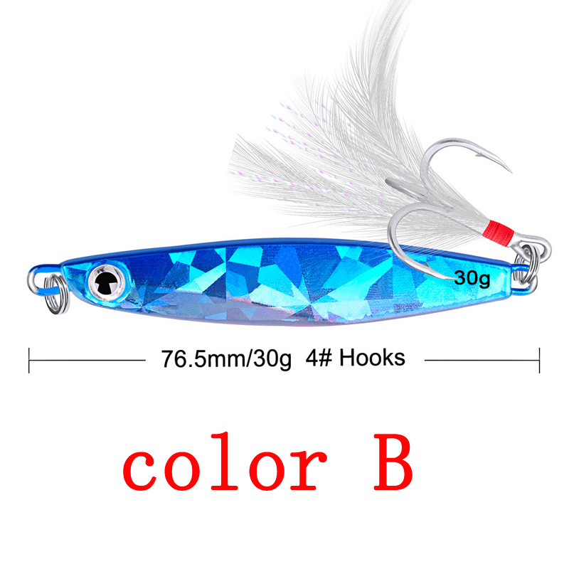 1Pc 10g 21g 30g Metal Fishing Lure Spoon Sequins Spinner with Feather Hard Bait For Sea lake lure Tool Wobblers 30 in Fishing Lures from Sports Entertainment
