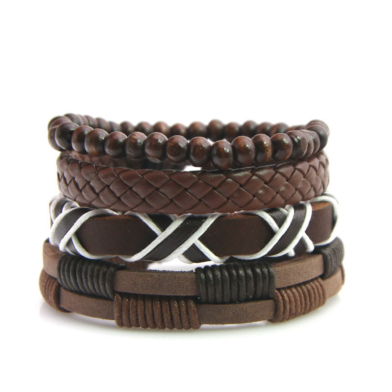 Product Men Leather Bracelets Leather Rope Wrap Bracelets Wax Line Adjustable Hand Bracelet Male Jewelry