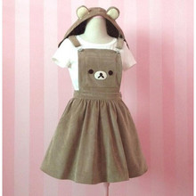 Women Girl Kawaii Rilakkuma Dress Cute Bear Embroidery Lolita Overall Hat Hooded Dress