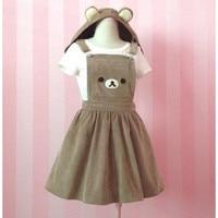 Women Girl Kawaii Rilakkuma Dress Cute Bear Embroidery Lolita Overall Hat Hooded Dress