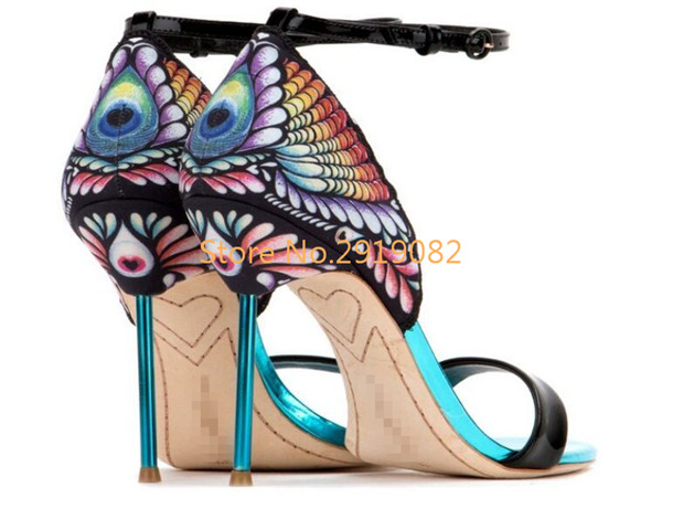 Butterfly Pattern Pointed Toe Women Sandals Thin High Heel Stilettos Sweet Fairy Summer Shoes Buckle Strap Party  Shoes