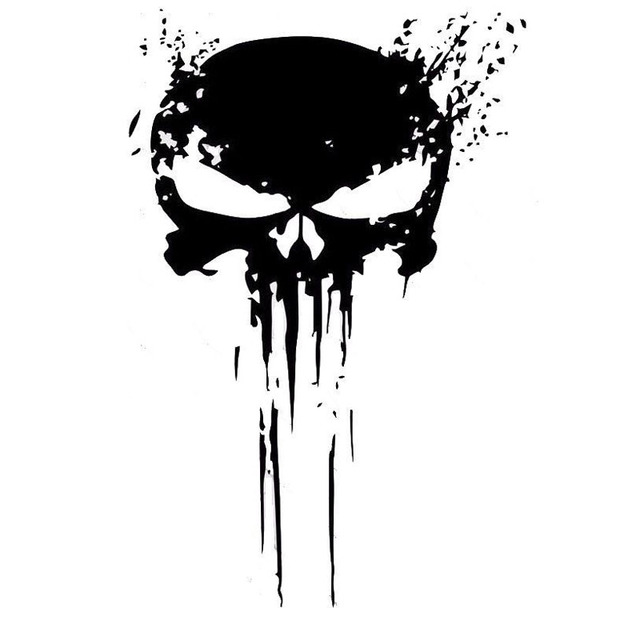 10 CM X 15 CM castigador cráneo sangre vinilo coche calcomanías pegatinas motos decoración negro/plata C1-3140