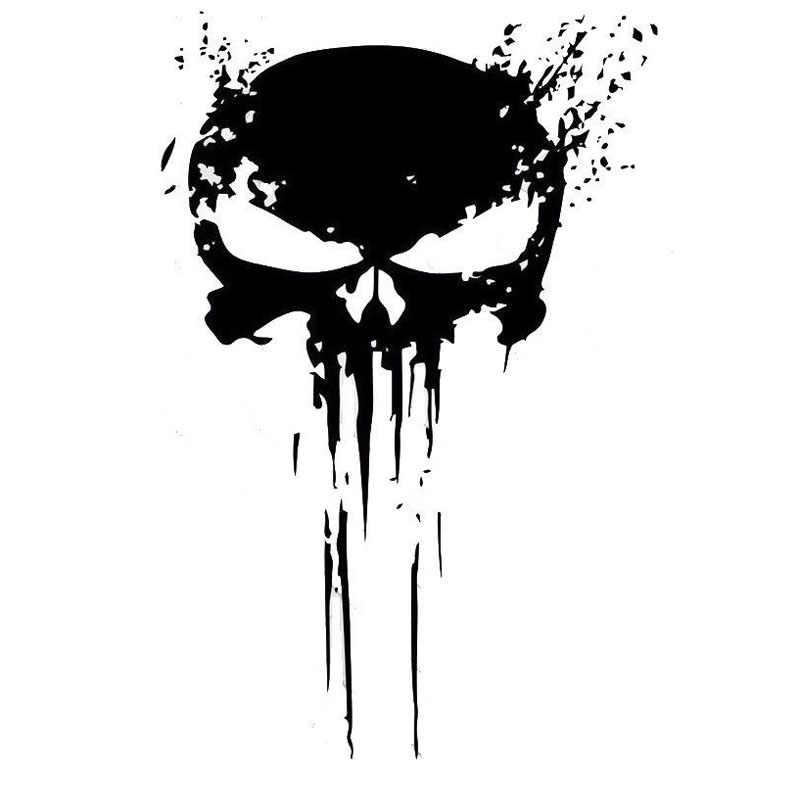 10 Cm X 15 Cm Punisher Tengkorak Darah Vinyl Mobil Stiker Decal Sepeda Motor Dekorasi Hitam/Perak C1-3140