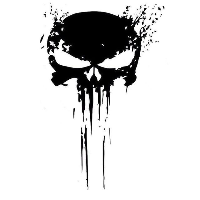 10 cm X 15 cm PUNISHER cráneo sangre vinilo coche adhesivos pegatinas motocicletas decoración negro/plata C1-3140
