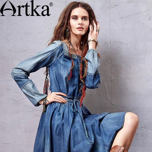 Artka 2015 женская ретро новая коллекция осенней одежды с длинными рукавами  лоскутное хлопоковое приталенное облегающее высококачественное элегантное удобное платье LN10257C