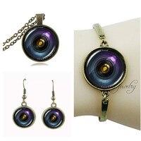 Camera pendant necklace camera lens earring set vintage jewelery sets for women men bracelet glass dome camera jewelry set