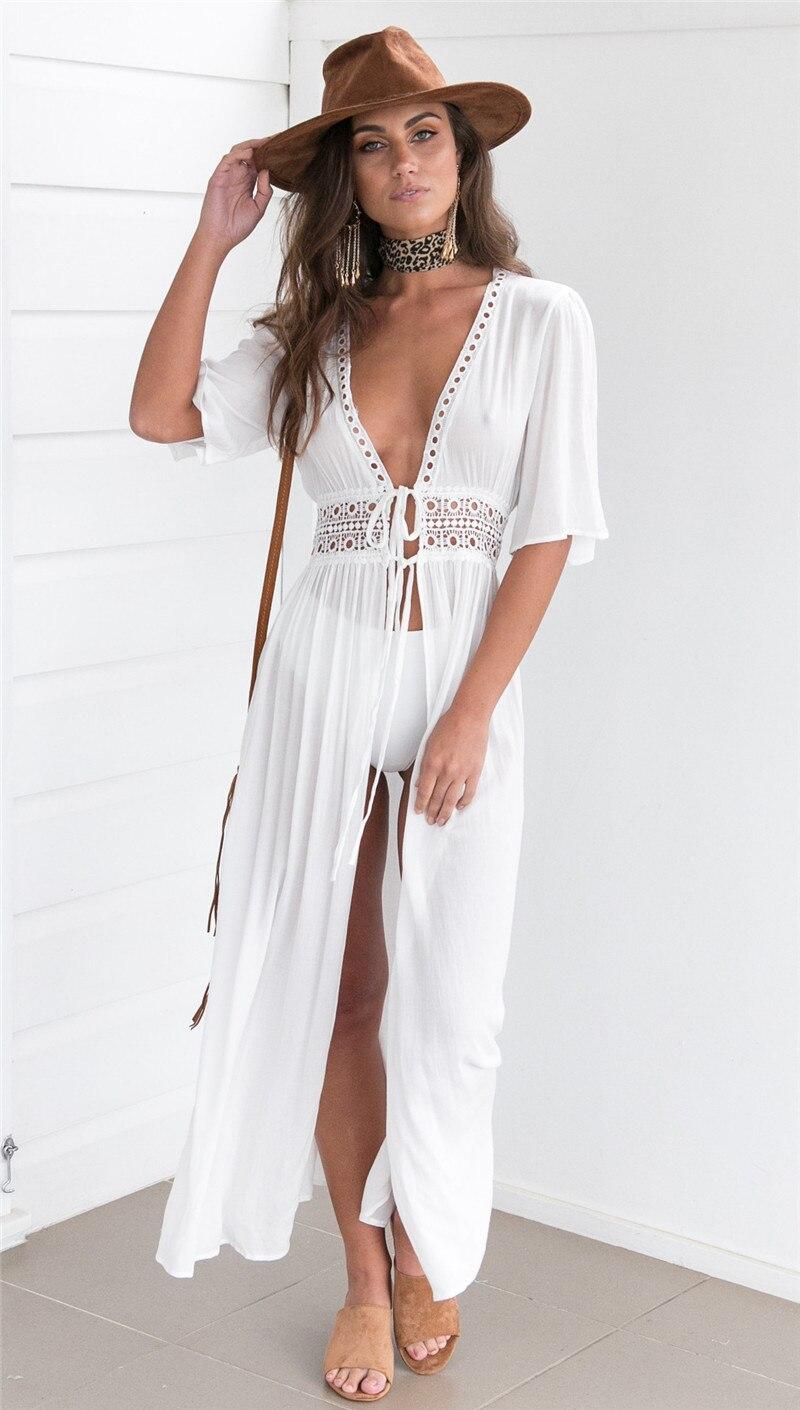 Ladies Short Sleeve Bohemian Long Dresses Womens Summer Beach White Tie Up Pom-pom Hollow Out Maxi Dress