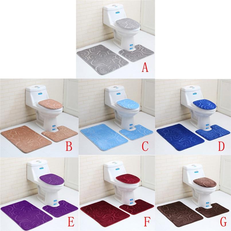 New Arrival 3pc Bathroom Set Rug Contour Mat Toilet Lid