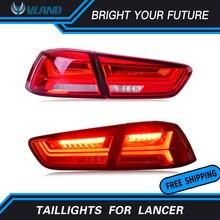 Сзади автомобиля лампа для 2008-2017 Mitsubishi Lancer хвост свет полный дыма и красный объектив светодиодный тормозной фонарь задний audi Стиль