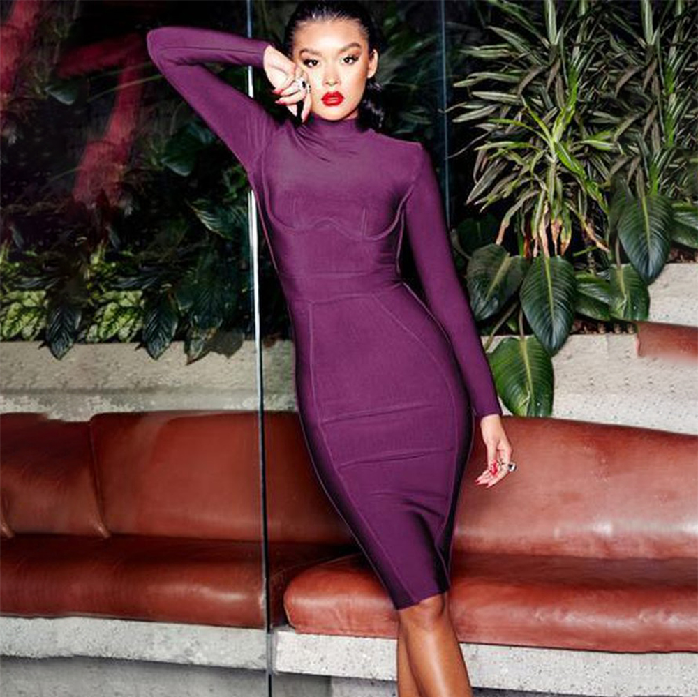 BEAUKEY Long Sleeve Knee Length Top Quality Bandage Dress Office Lady Bodycon Dress Color Black Wine