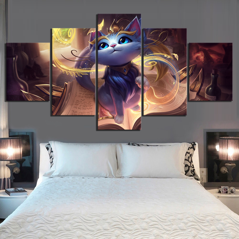 5 Piece Yuumi League of Legends Game Poster Paintings HD Cartoon Cute Cat Picture Fantasy Art Wall Paintings for Home Decor 1