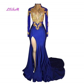 Womens Mermaid High Neck Prom Dress 2020 New Gold Applique Long Sleeves Split Evening Gowns Royal Blue Sweep Train Dresses