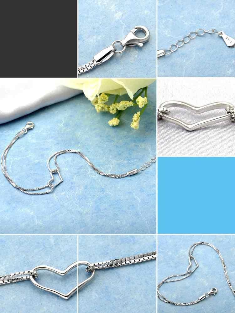 Шармы браслеты с сердечками и браслеты для женщин 925 стерлингового серебра ювелирные изделия Femme Bileklik Pulseira Pulseras Love