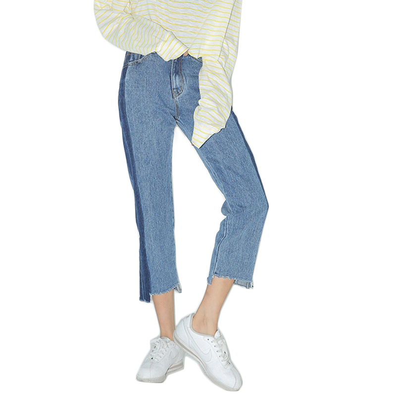 Contrast Asymmetric Frayed Hem Women Cropped Jeans Spring Summer 2017 New Fashion High Waist Women Jeans Stylish Jeans Femme