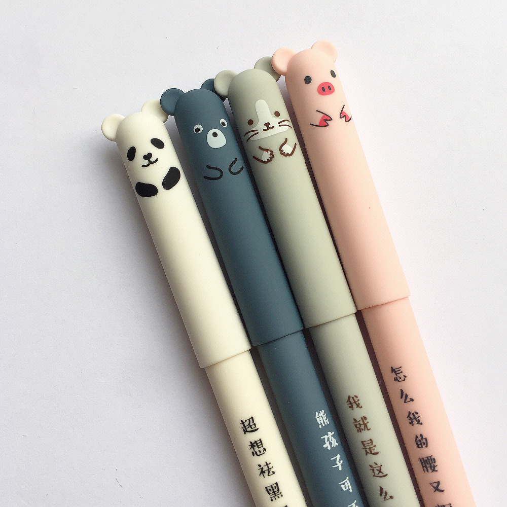 все цены на 3X Kawaii Pig Panda Mouse Bear Erasable Velvet Gel Pen Rollerball School Office Supply Student Stationery Pens 0.35mm Blue Ink онлайн