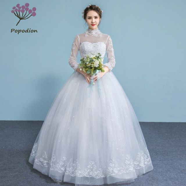 Popodion wedding dress lace long sleeve bride dress wedding gowns ...