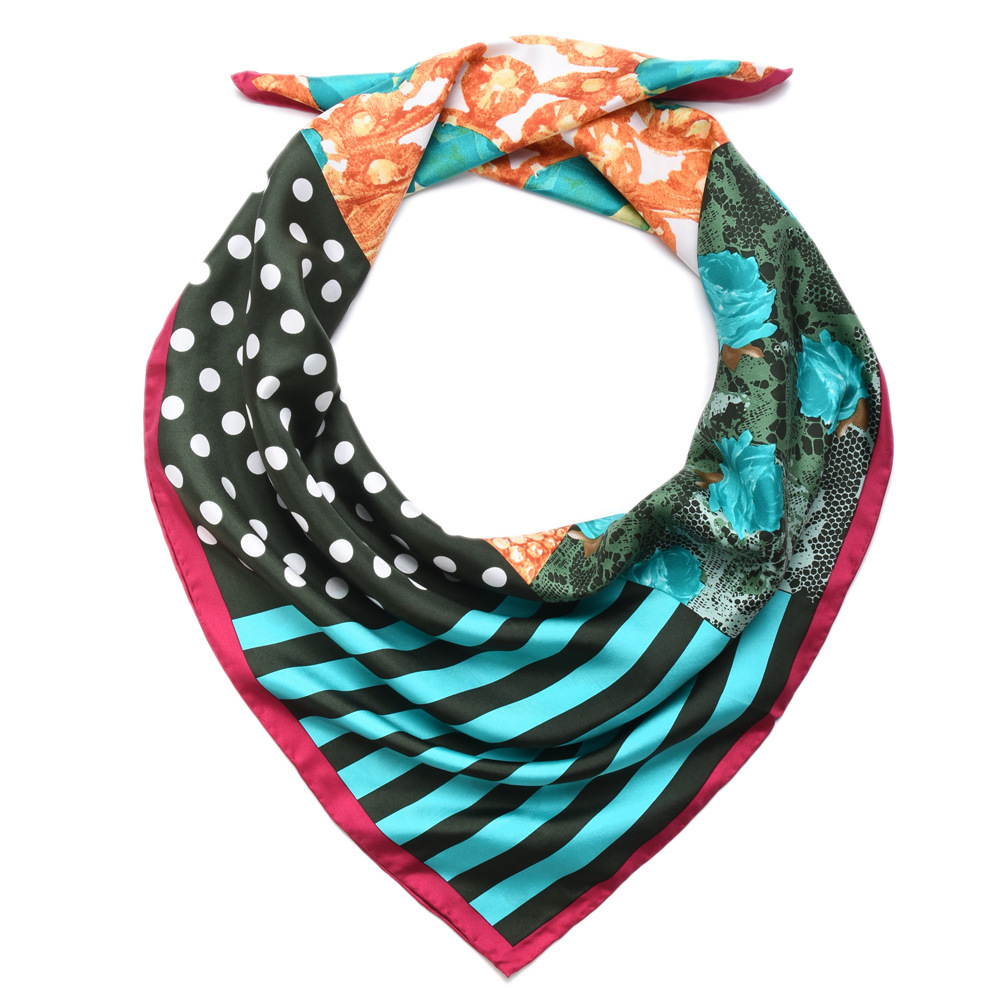 Temperament Print Square 90 Silk Twill   Scarf   ,Women 100% Pure Silk Scarfs   Wraps   Shawl Gifts Top Quality Hand Rolled Edge