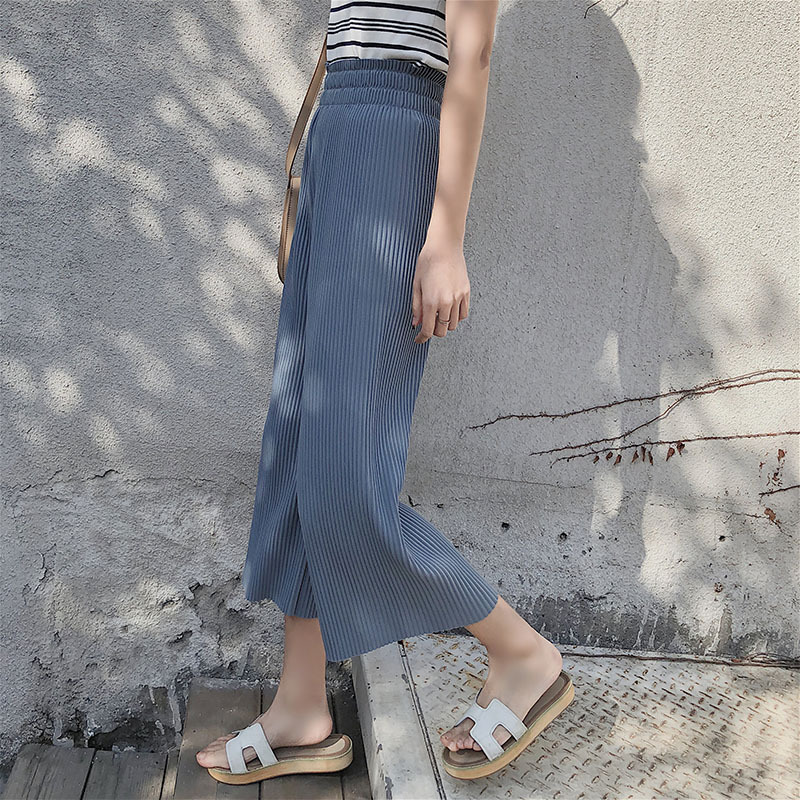Aselnn 2019 Summer Women Chifffon   Wide     Leg     Pants   High Waist Loose Trousers For Female Pleated Thin   Pants   Pantalones Mujer
