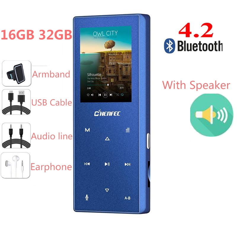 New Bluetooth 4.2 MP3 Player Bulit In Speaker Metal Touch Button Sports Music Player Recorder FM Radio,Expandable 128GB TF Card