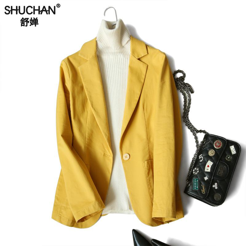 Shuchan Cotton Women Blazers And Jackets Casual  Single Button Yellow Solid Blazer Feminino 2019 New High Quality Outwear X-6007