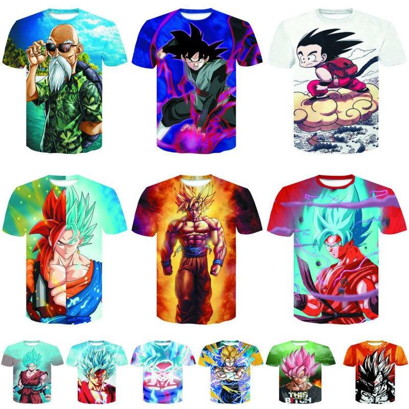 ドラゴンボール3dプリントtシャツtシャツオムシャツ悟空tシャツサイヤ人男性コットンtシャツoネック通気性ティーシャツ用男