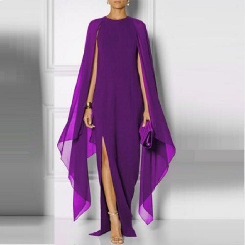 2018 Summer New Fashion Sexy Atmosphere Queen Fan Dress Bat Sleeve Chiffon Stitching Solid Color O-Neck Bohemian Long Dresses