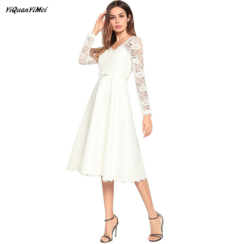 Élégant Chaude Robe Dentelle Noir D'été Elbise Femmes Col Plus V Imprimer Arc Out Taille Robes blanc Parti Creux wr0wqE5