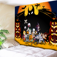 Halloween Tapestry Wall Hanging Bat Party Home Decor Big Hippie Blanket Orange Cloth on Fabric Decorative Rug Carpets