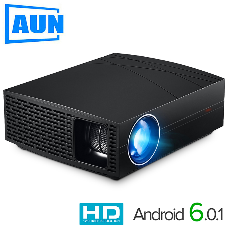 AUN LED Projector F20, (Optional Android Projector Suppor 4K,AC3) 4000Lumens 1280*800 Resolution,HIFI Speaker,3D Smart Cinema TV