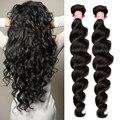 Barato 2 Pcs onda solta peruano virgem cabelo 6A grau não transformados cabelo humano Weave Rosa rainha produtos para o cabelo peruano onda solta