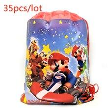 35PCS Kids Boys Favors Super Mario Theme Baby Shower Decoration Mochila Non-woven Fabrics Birthday Party Drawstring Gifts Bags