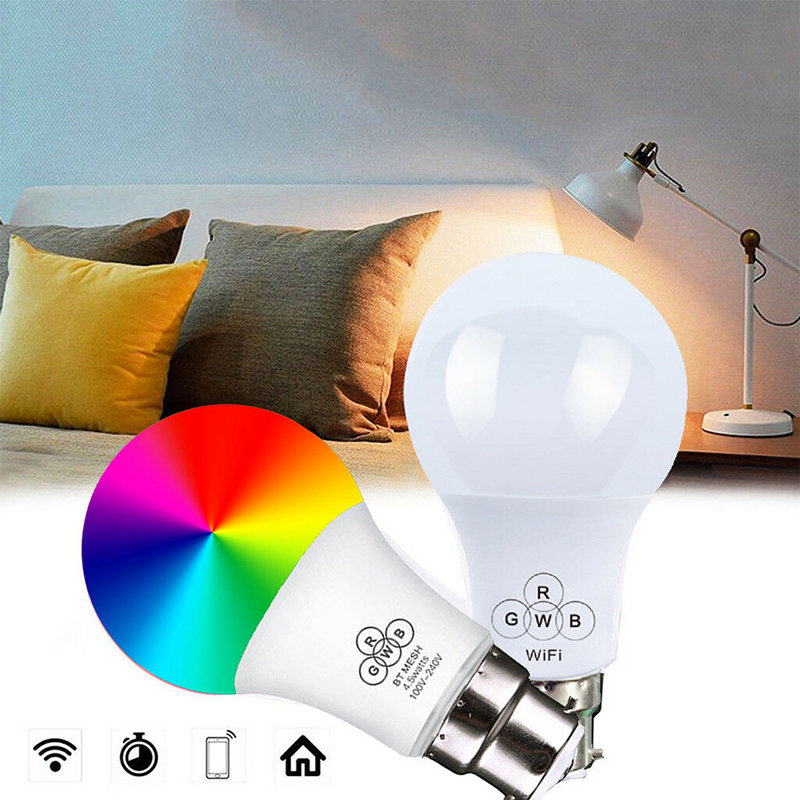 B22 Smart Remote Bluetooth Magic RGB LED Light Bulb 16 Color Change Dimmable Smart WIFI UK Plug Socket for Alexa Google Home(China)