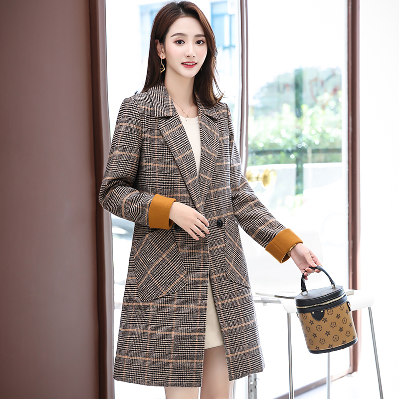 Outerwear Long Slim Femme Lyfzous Size Fashion Trench Khaki Women Plus Coat Autumn Plaid Elegant Woolen Spring Coats Overcoat wq4wxSa7P