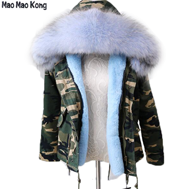 e4b838e0ec5e winter jacket women's Camouflage parka real raccoon fur collar cotton coat  detachable warm faux fur liner parkas hoodies tops