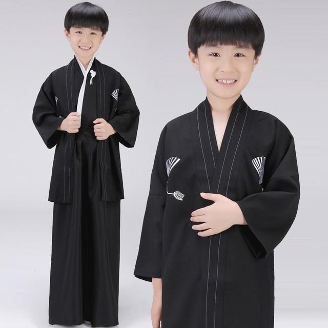 3 Piece Set Japanese Kimonos Traditional Clothing Samurai Cosplay Costume Boys Vintage Long Kimono Black Cotton